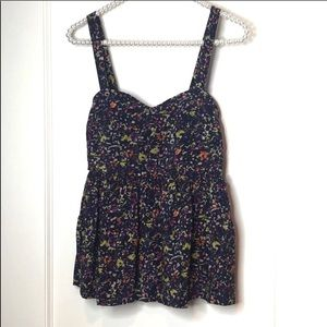 Urban Outfitters Pins and Needles Navy Silk Top XS